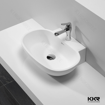 Kkr Leaf Shape Vessel Sink Long Bathroom Sinks With Two Faucets