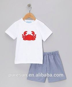 Summer lovely baby boy clothes crab appliqued white smocked tee & seersucker shorts two pieces boutique outfits