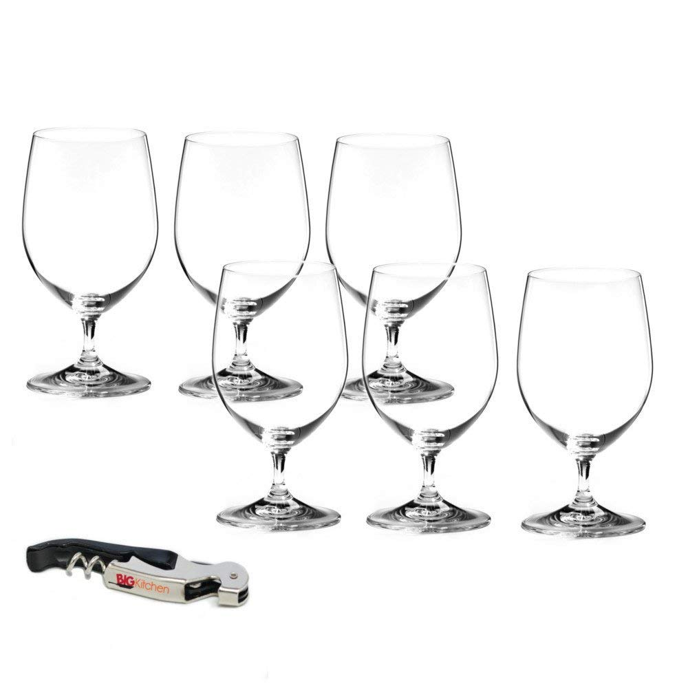 Riedel Vinum Lead-Free Fine Crystal 6 Piece Water Glass Set with Bonus BigKitchen Waiter's Corkscrew