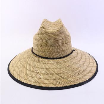 Mulheres feitas sob encomenda de salva-vidas de palha safari chapéu de aba  larga homens ce8da33a44c