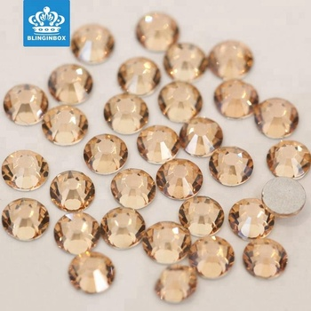 Golden shadow color flat back non hot fix nail bling crystal rhinestone in bluk
