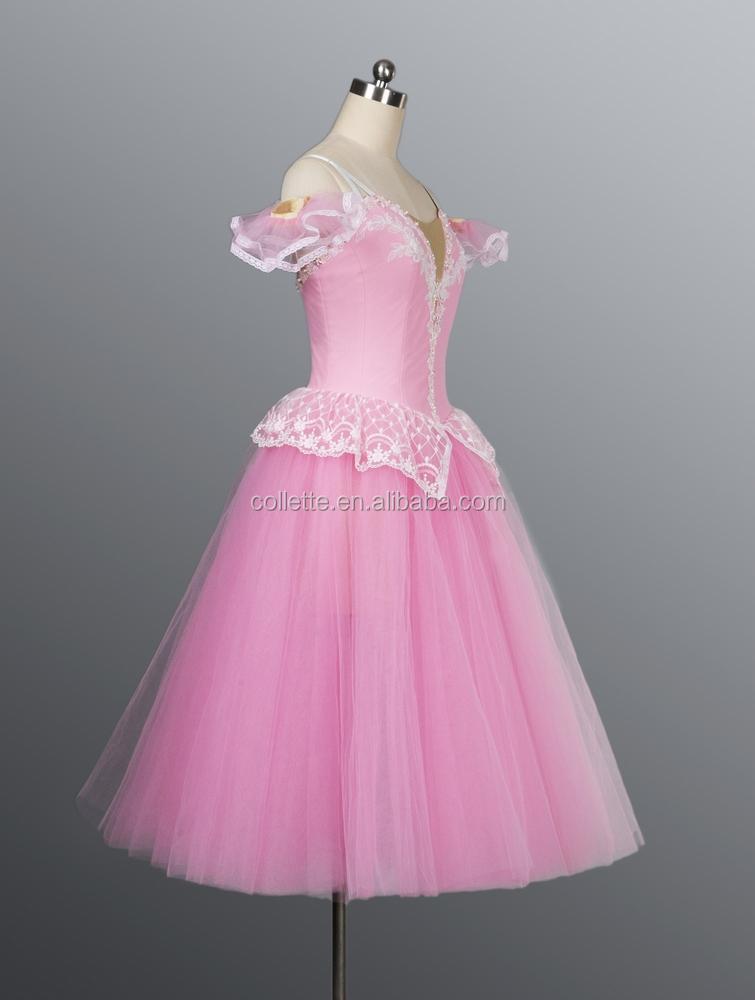 Pink cute romantic ballet dress adult ruffles fluffy long giselle dress  costume 2443904e8