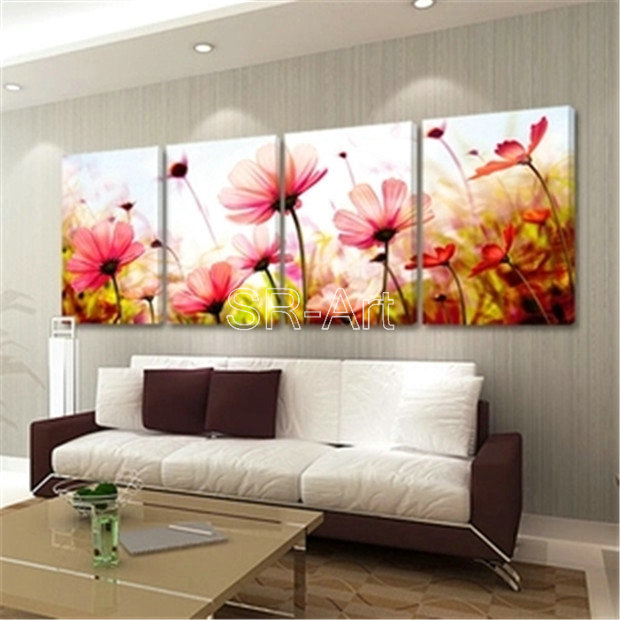 Modern 4 Panels Flowers Wall Art Giclee Prints Framed Artwork Pictures Paintings on Canvas for Home Office Living Room Decor