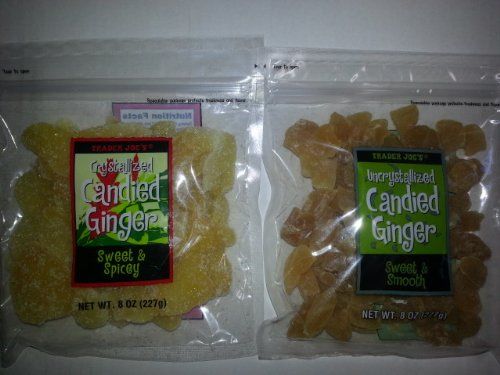 Trader Joe's Uncrystallized Candied Ginger and Trader Joe's Crystallized Candied Ginger Combo Pack (One 8 Oz. bag of each)