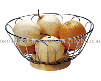professional kitchen bamboo and metal fruit holder with lower price