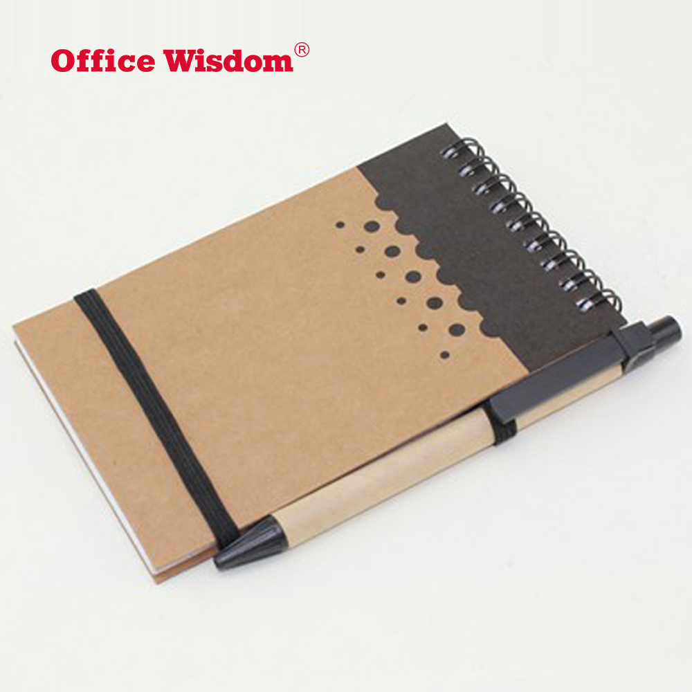 Double metal spiral ECO book Coil notebook with paper pen recyclable elastic band notebook for promotion gift office