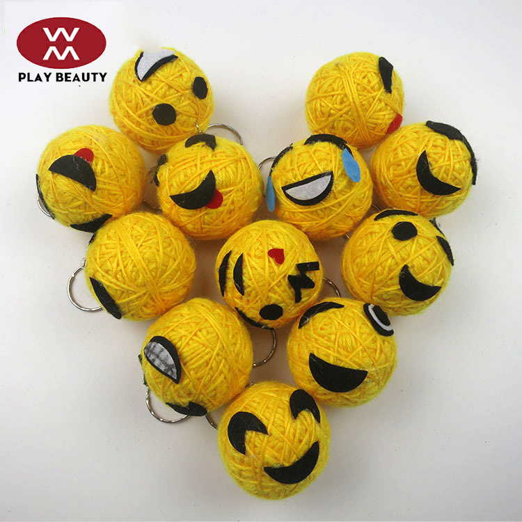 Factory Custom Design Wholesale 5 cm Emoji Smiling Face Toy Custom woolen Toy For Vending Machine