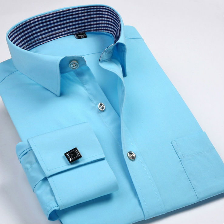 Heren Overhemd Met Manchetknopen.Hoge Kwaliteit Mode Franse Manchetknopen Shirts Heren Overhemden