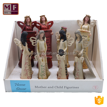 Warm Polyresin Mother and Children Daughter Figurine for Home Decoration