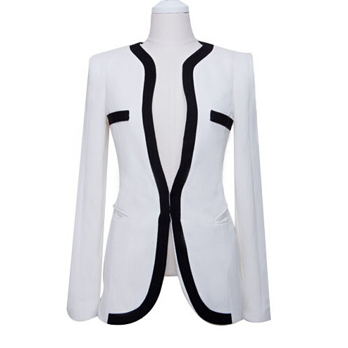 2015 White Black Suit Blazer Feminino Women Blazers And Jackets Autumn Summer Style Coat Slim Outerwear Plus Size S M L XL WZ02