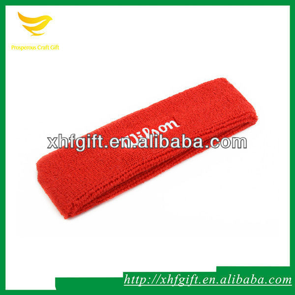 Elastic toweling headband with custom embroideried logo