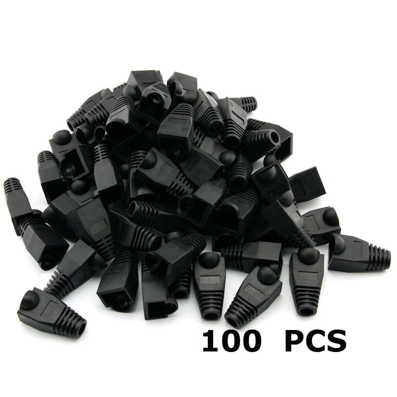 Generic 100 PCS 8P8C RJ45 CAT5 CAT5E CAT6 RJ45 Ethernet Network Cable Adapter Boot Plug Cap Cover Strain Relief Boots - Black