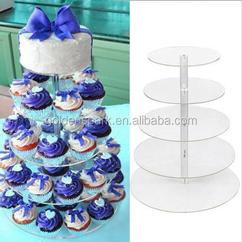 5 Tier Cupcake Stand Top Qualität Kristall material Clear Kreis Runde Ständer Hochzeit Geburtstag kuchen display regal