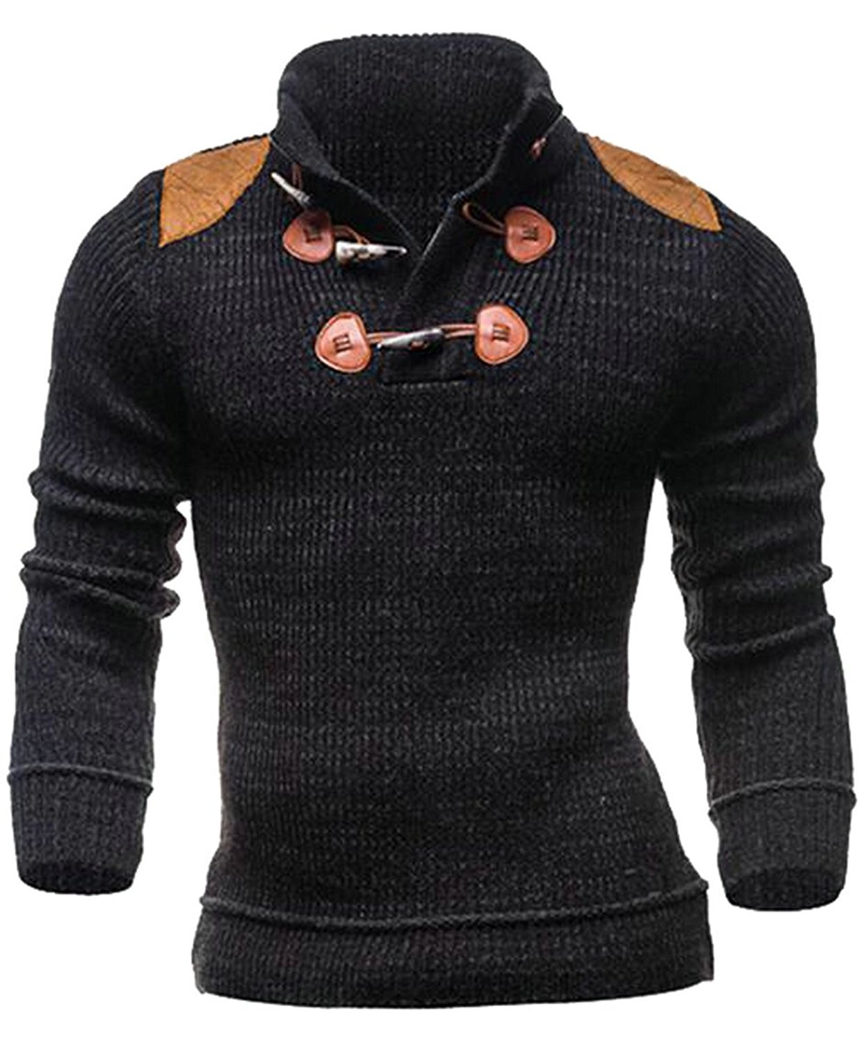 BU2H Men AutumnTurtle Neck Solid Long Sleeve Knit Cable Pullover Sweater
