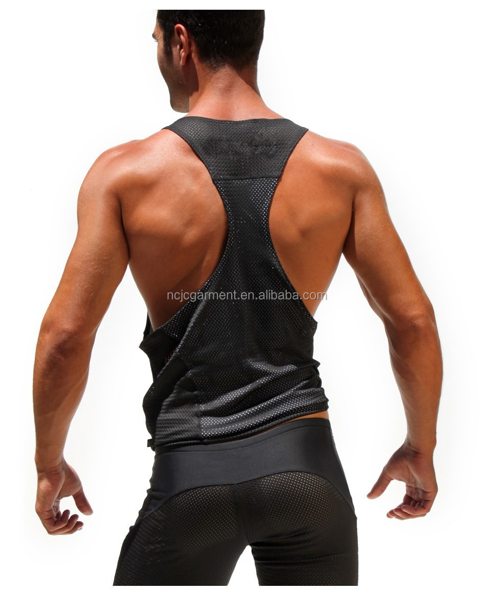 90ec18ac6f3b0 Summer Sexy Mens Mesh athletic Tank Tops deep cut gym Bodybuilding Clothing  For Gay Men
