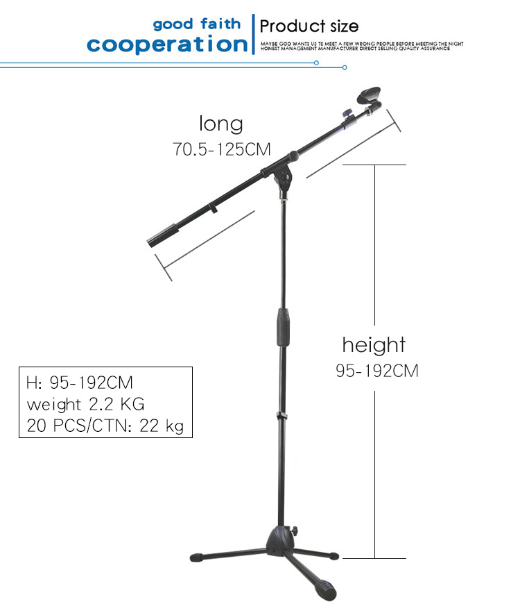 Mic stand GH-206 all metal mobile microphone stand with button adjustable microphone stand