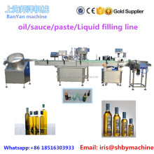 BY-JG4 50ml 100ml 1000ml Automatic small big bottle olive oil/ 8 honey filling capping labeling machine line price