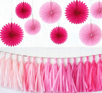 Set of 23Pcs Pink Paper Fans and Paper Garlands for Bridal shower, Wedding,Baby Shower Decorations