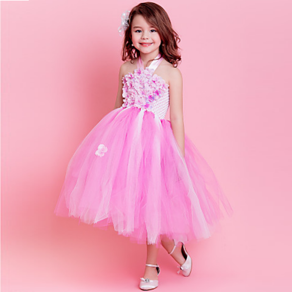 Cenicienta vestido de tutú pétalo floral Net vestido de niña de ...