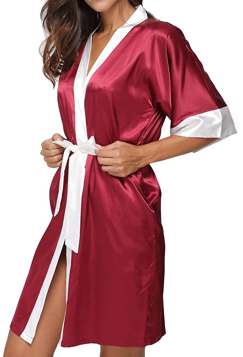 16f11fd72b Get Quotations · Giova Women s White Trim Kimono Robe Nightgown Sleepwear  Satin Short Robe