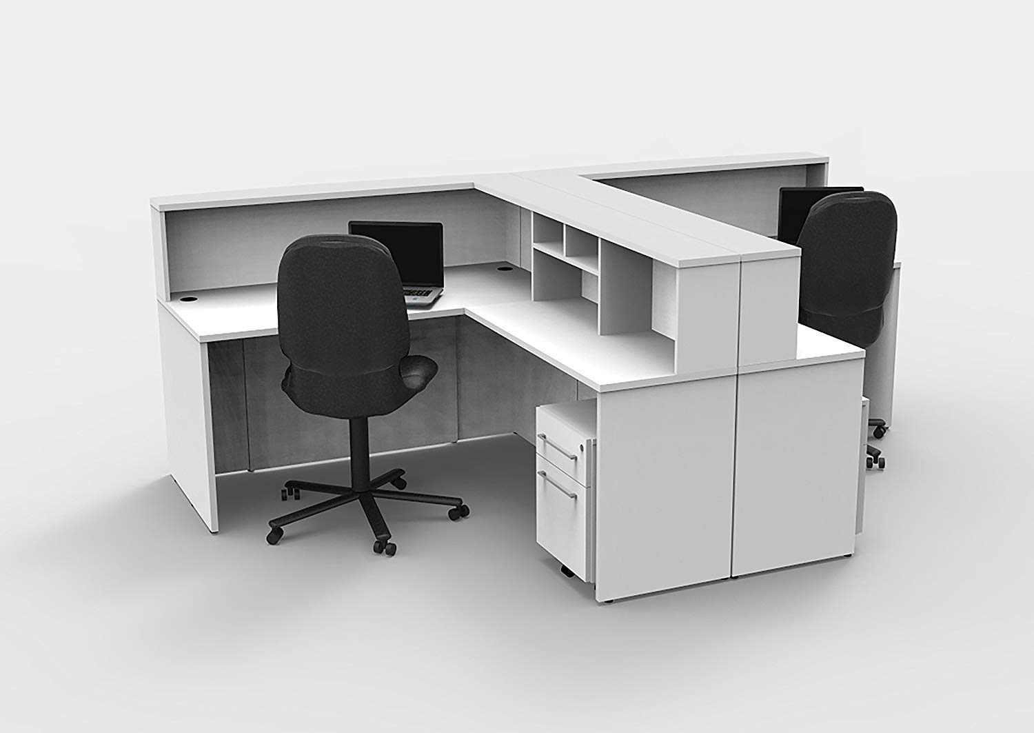 Office Reception Desk Reception Corner Collaboration Furniture Model 4311 10 Pc Group Contemporary White color. Update Your Spaces with Commercial Grade Reception Collaboration Furniture.
