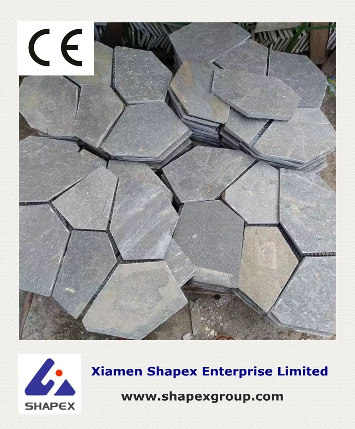 Natural broken slate flooring tile for walkway paving