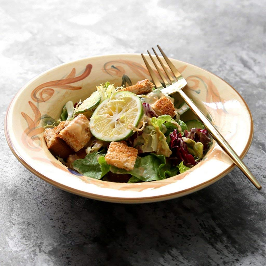 Household Tableware Ceramic Creative Pasta Bowl Salad Bowl Vegetable Bowl Dessert Bowl Fruit Plate (Size: Diameter 22CM High 4.5CM)