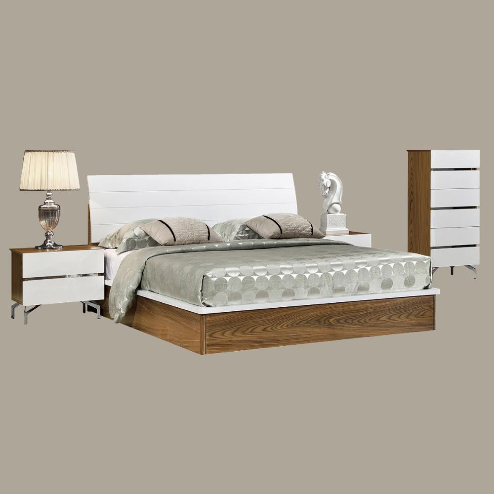 New Walnut Color White Headboard Wood Double Bed Designs With Box