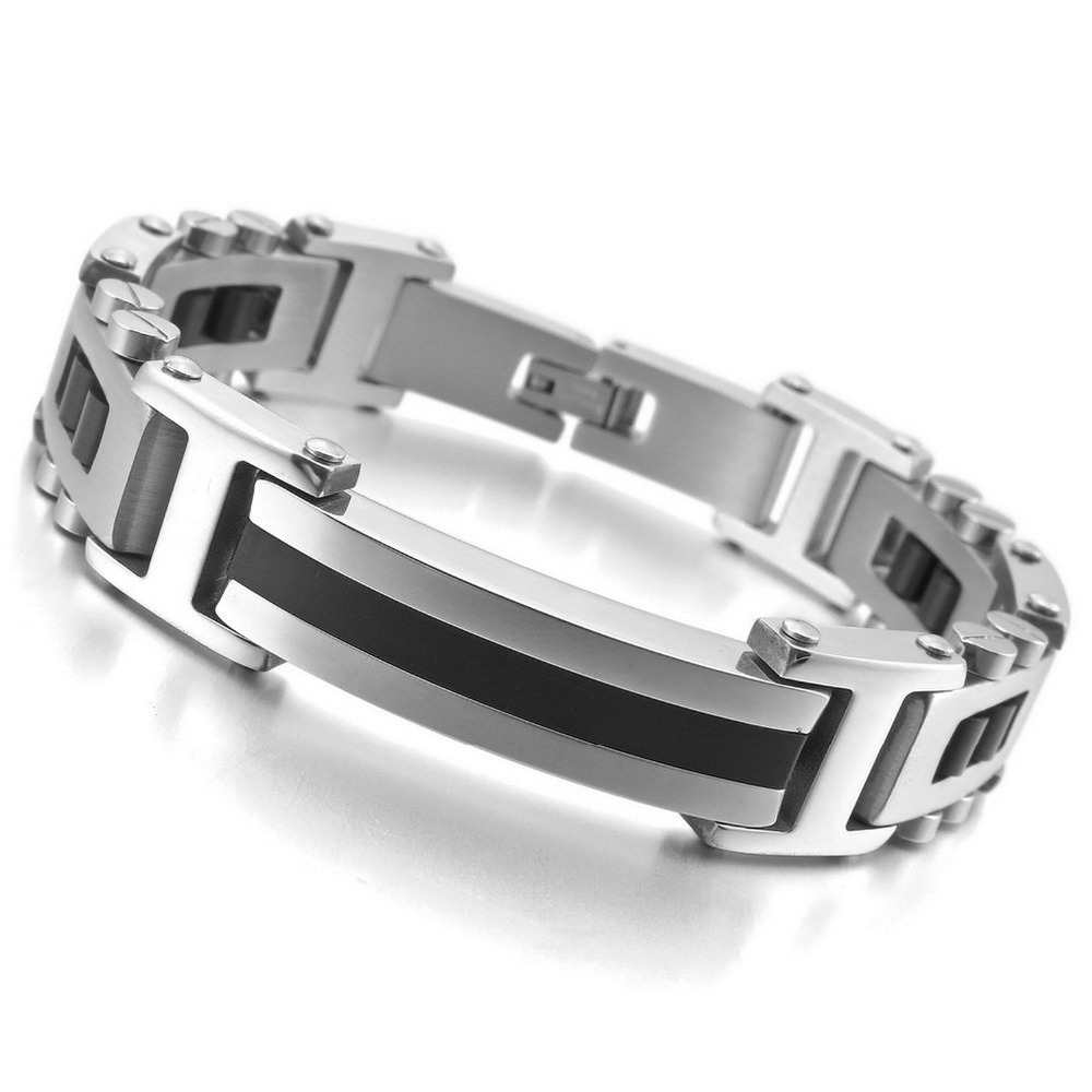 New Arrival Hot Sale Trendy Chic Gothi &All-Purpose Style Rectangular Bracelets Made By Stainless Steel With Length 8.46inch
