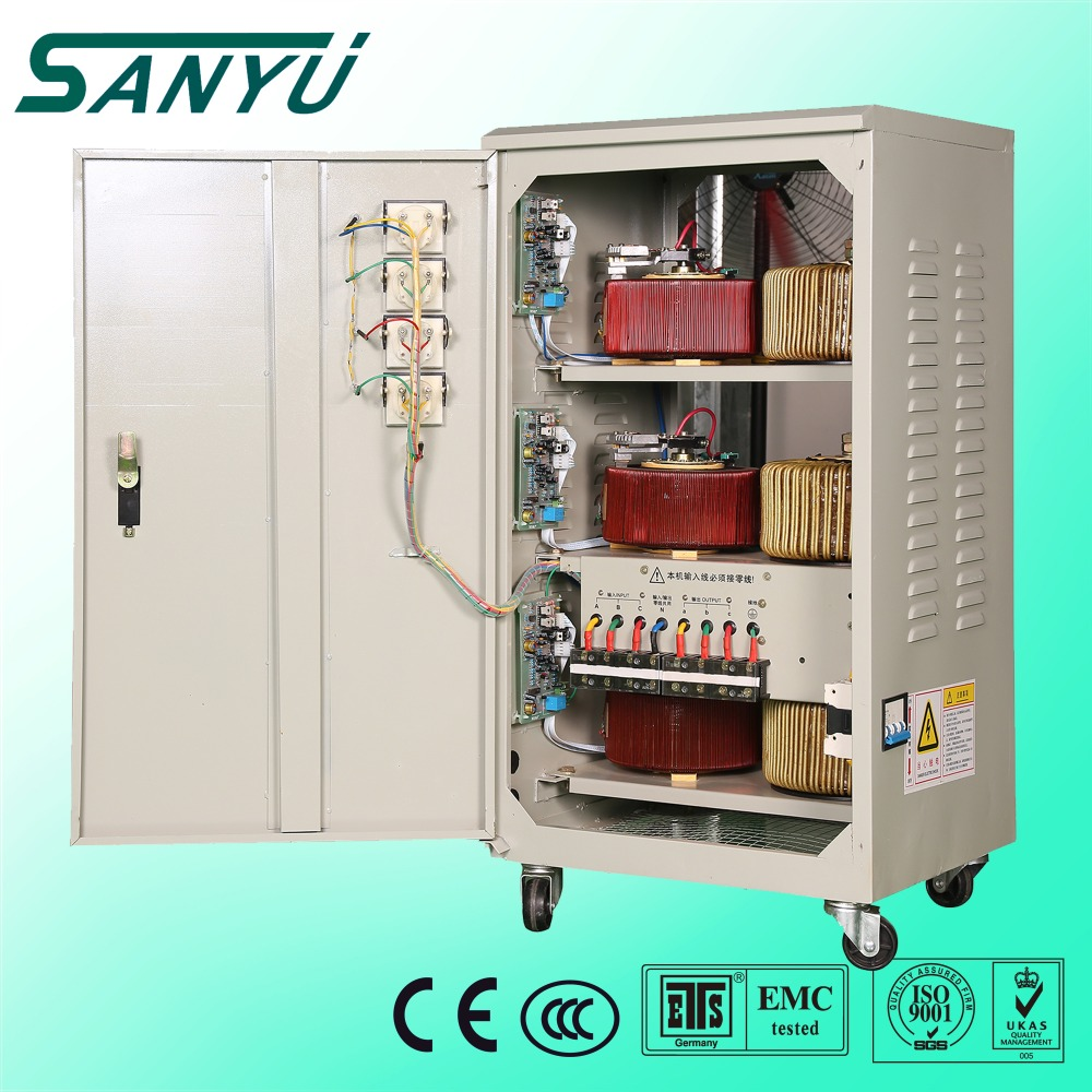 SANYU Hot sale SVC SBW 10KVA 20KVA 30KVA 3 phase motor type ac automatic universal voltage stabilizer