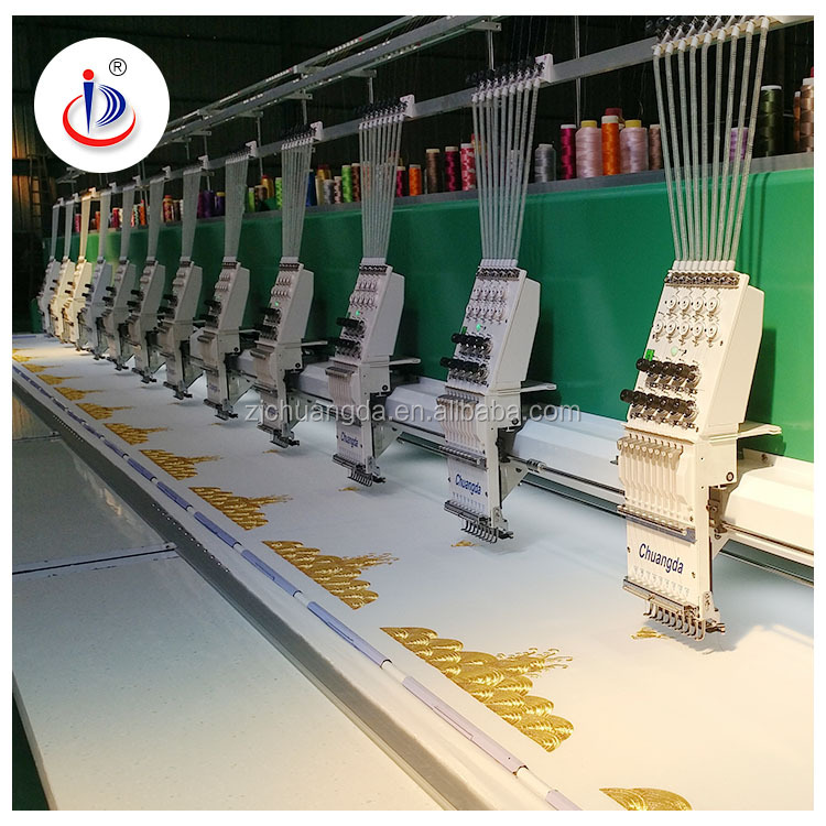 621 21 HEADS IN TOTAL FLAT EMBROIDERY MACHINE WITH AUTO TRIMMER REASONABLE PRICE FOR SALE