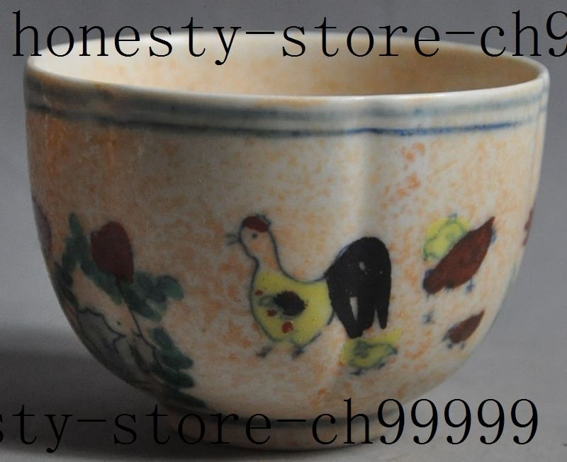 old chinese wucai Porcelain Cock <font><b>Rooster</b></font> Chicken flower lucky statue cup bowl