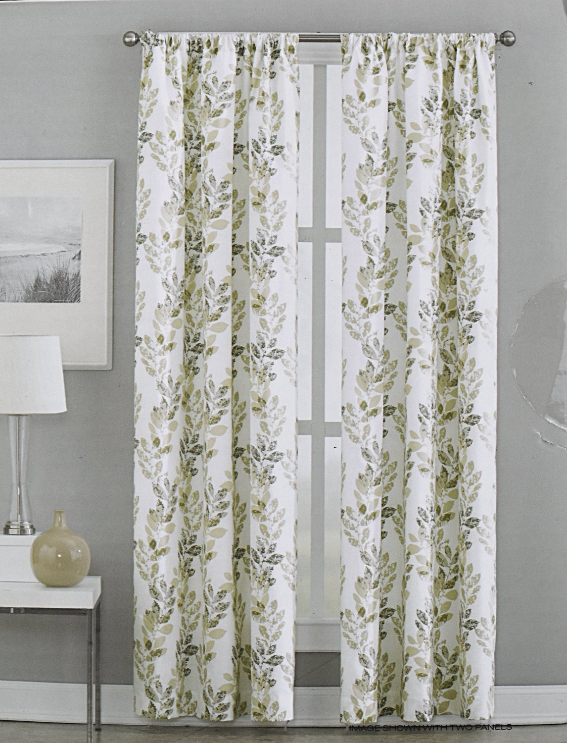 tan dkny striped curtains pocket floral inch road panels meadow taupe set city branches amazon of by cotton window beige com dp white
