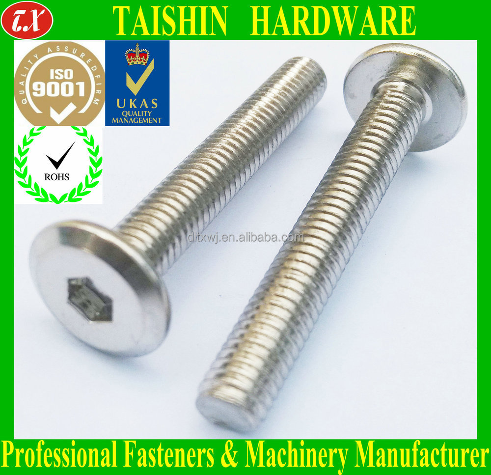 M hex socket flat chamfered head screws and fittings for