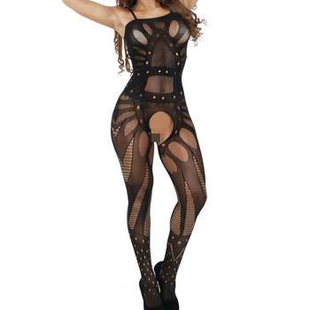 Girls hot sexy open nude crotchless fishnet nylon bodystocking