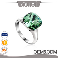 Diamond Engagement Princess Ring Simple 18k Rhodium Plated Emerald Green Crystal Ring