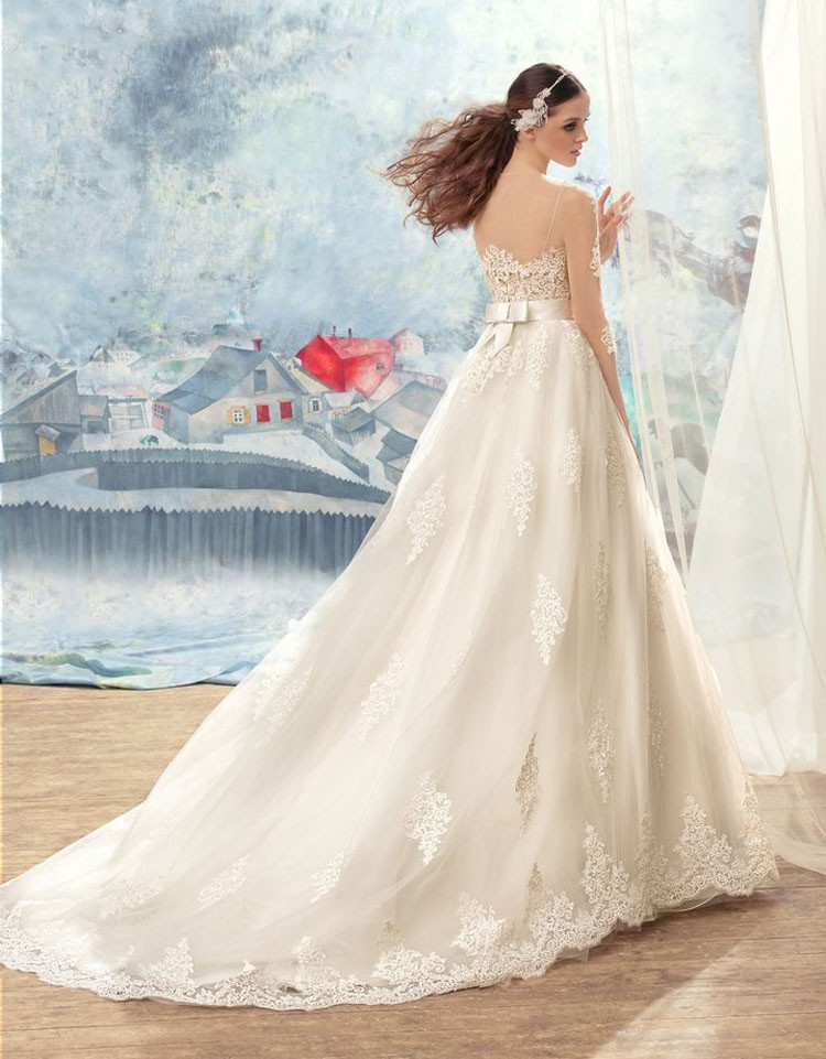 Sexy See Through Corset Nude Wedding Dress 2016 Long Sleeve