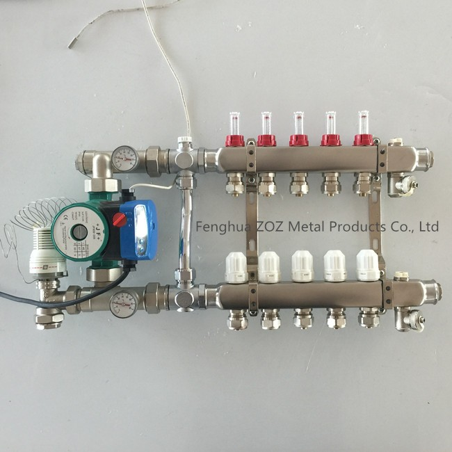Stainless Steel Floor Heating Manifold With Mixing Valve