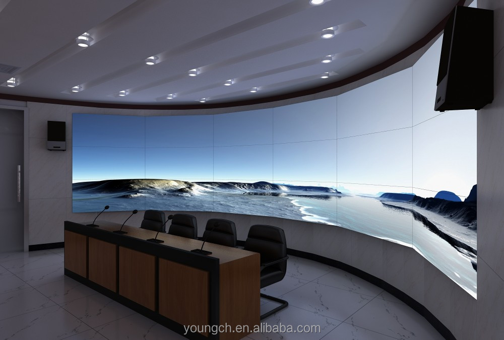 Very elegant curved led video wall 65 in huge screen led backlight for auditoriums home theater very innovative video media play