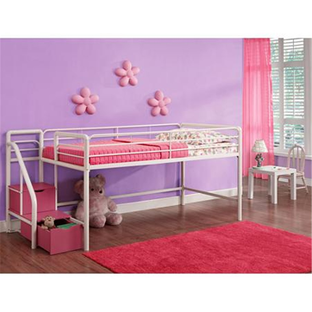 Cheap Kids Bedroom Furniture Pink/white/metal/black Metal Frame Loft Bed  With Stairs And Storage Steps - Buy Loft Bed,Metal Loft Bed,Loft Bed With  ...