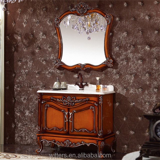 French antique bathroom vanity cabinet with marble countertop and ceramic wash hand basin WTS616