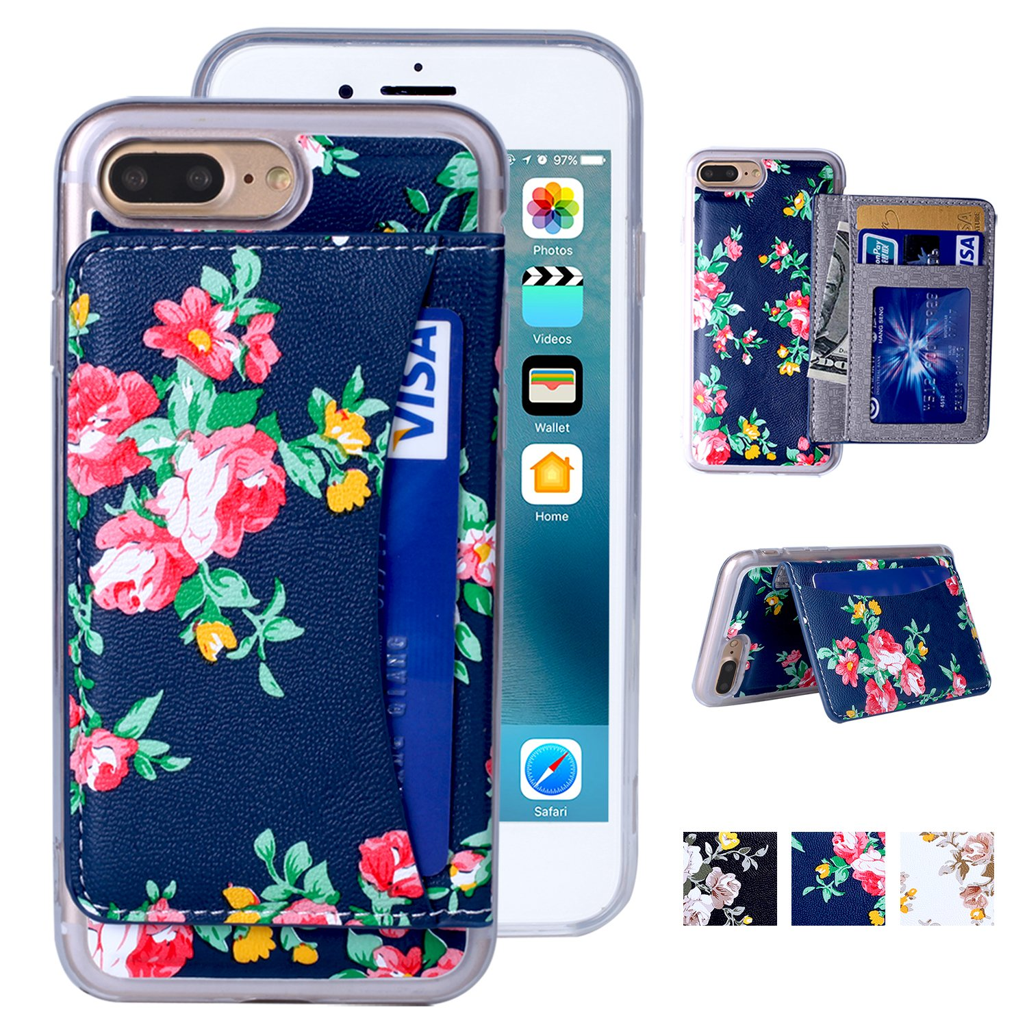 iPhone 7 Plus Case, iPhone 7 Plus Wallet Case, Premium PU Leather Flower Floral Back Folio Flip Wallet Cases Magnetic Holster Phone Case for iPhone 7 Plus (5.5'') with stand, Card Slots-Navy Blue&Red