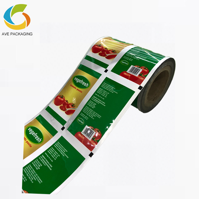Food Grade Plastic Film Roll Ketchup Tomaat Pasta Snack Film in Roll