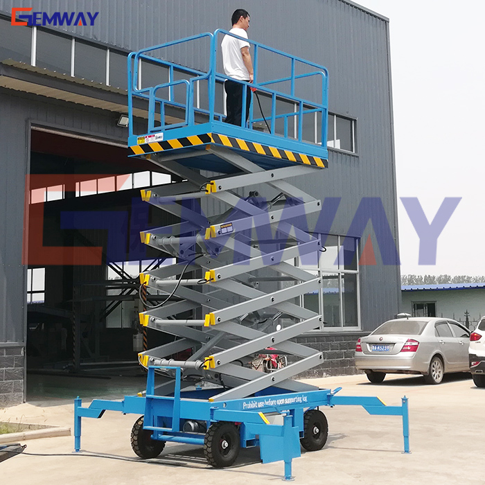 10m hydraulic manual move outdoor one man lift for window cleaning