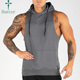 High Quality Side Pockets Men Sports Singlets Gym Hoodies For Men Custom Hooded Tank top