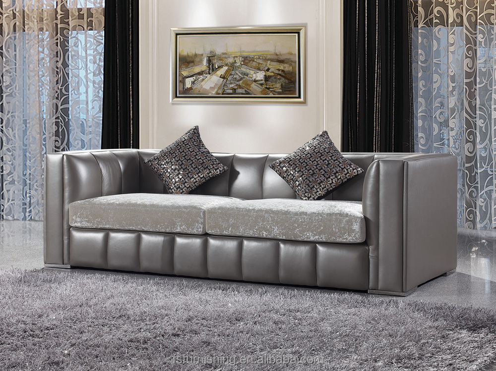 Jr316 modern contemporary grey color genuine thick leather - Tapizar cojines sofa ...