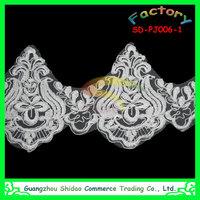 Discount ivory cord scalloped alencon wedding bridal lace trim, veil trim lace
