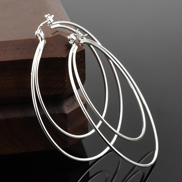 Wholesale Jewelry Simple Design Big Hoop Silver Earring Women