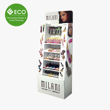 Cardboard Floor Standing Promotional Cosmetic Display Stand Manufacturer