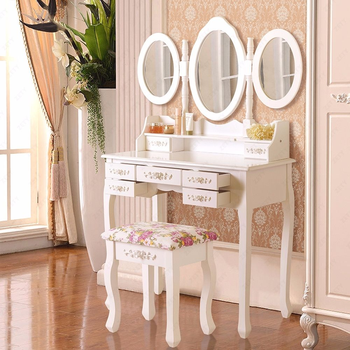 High Quality Shabby Chic Dressing Table Vanity Makeup Storage With Mirror And Stool Set Bedside